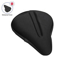 """Large Bike Seat Cushion 11""""x10"""" Wide Gel Soft Pad Exercise Bicycle Saddle Cover"""