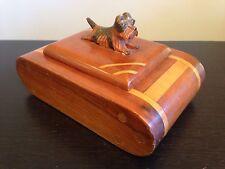 "Vintage 1930s Carved Inlaid Trinket Box Norwich Terrier ""Betty"" Finial Folk Art"