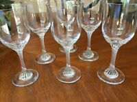 "Six (6) Isaac Mizrahi Wine Glasses Twisted Textured Stems 6 1/2 """