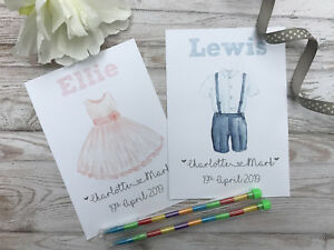 Personalised Children's Wedding Activity Pack Bag Favour A6 Dress | Suit