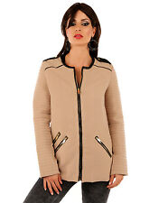Damen Kurzmantel Mantel Jacke Blazer mit Kunstlederbesatz S/M/L/XL 36/38/40/42