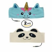 CozyPhones Kids Headphone Soft Headband 2 Pack Bundle Unicorn / Panda Character