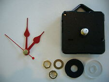 CLOCK MECHANISM QUARTZ SHORT SPINDLE. 48mm RED HANDS WITH FREE CD ADAPTOR KIT