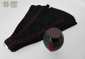 FOR HONDA CIVIC SI 5 SPEED BLACK LEATHER SHIFT KNOB+SUEDE BOOT RED STITCH COMBO