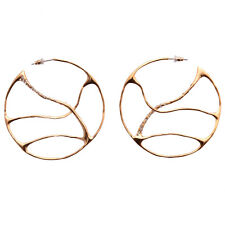 De Buman 18k Yellow Gold Plated Crystal Hollow out Trendy Hoop Earrings for Gift