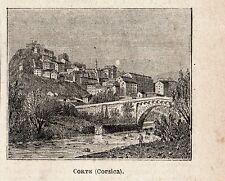 Stampa antica CORTE piccola veduta panoramica Corsica Corse 1897 Old Print