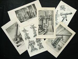 Set of 6 Antique Prints of ASTRONOMY, TELESCOPES, OPTICAL MACHINES...