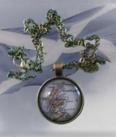 Atlas Map Of Scotland Antique Brass Effect Glass Pendant & Chain