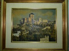 "Antique Oil Painting Signed G Kriger, ""Old Ruins on a Hill"", 33 X 43 cm"