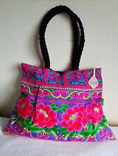 Große Stoff Schultertasche Large Bag Zip HANDARBEIT HANDMADE THAILAND NEU NEW