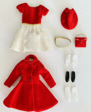 Vintage Barbie SKIPPER SILK`N FANCY #1902 RED LACE + DRESS COAT #1906 Near Mint!
