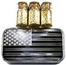 1 TROY OUNCE .999 SILVER BULLION AMERICAN FLAG BAR BU + 3 JARS 24K GOLD FLAKES