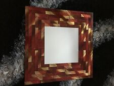 New tiled pattern small square red and gold mirror (welsh)
