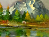 "Small oil in cavas ""Horse and Mountain"" Landscape by G.Simental 8"" by 10"" Framed"
