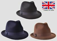 VTG Style New Wool Felt Mens Gangster Hat Trilby Fedora Black,Brown, Navy S.M.L