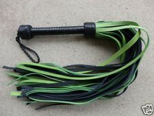 LIME GREEN HEAVY MEGA THUDDY Grain Leather Flogger 35 Tails - Horse Whip Cat