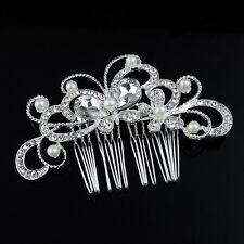 Fashion Women Crystal Rhinestone Wedding Bride Flower Pearls Hair Clip Hair Comb