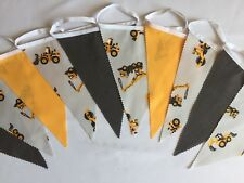 Childrens Boys Diggers And Dumpers Fabric Bunting 3m Birthday Bedroom Decor