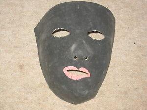 Sehr alte schwarze Faschingsmaske a.Pappe Fasnacht Maske carnival mask fasnet