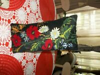 "Vintage needlepoint pillow Black floral GUC cond. meas. 14""x7"