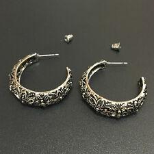 Bohemian Boho Style Carved Flower Hollow Round Pierced Stud Hoop Women Earrings