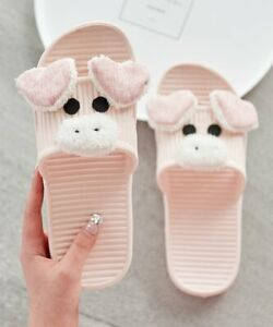 DUDU TOWN Women's Ribbed Slippers NEW (Pink Pig, EU 38/39, US 7/8)