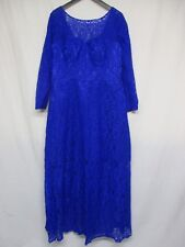 Women's Long Sleeve Blue Lace Formal Evening Cocktail Bridesmaid Prom Gown   p7