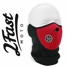 Red Half Face Fleece & Neoprene Mask With Mesh Ventilation Dirtbike Moto MX KTM