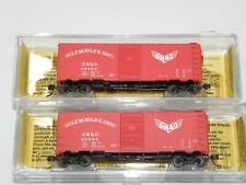 N GULF MOBILE & OHIO AAR 40' BOXCARS by DELUXE INNOVATIONS; 142201, 202 NIB