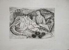 Robert TRAUT gravure signée scène de marché poisson P300