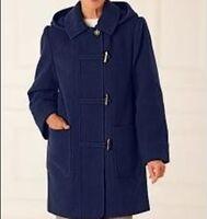 Women's Outerwear Winter Wool blend Hooded toggle jacket coat plus size 16W 1X