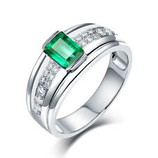 Generous! Real 14K White Gold Emerald & Diamond Wedding Vintage Ring