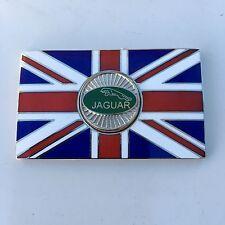 JAGUAR Union Jack GB Brass Enamel Classic Car Badge - Self Adhesive