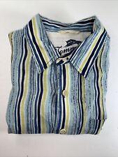 Tommy Bahama Mens 100% Linen Stripped  Long Sleeve Shirt Sz L #C2