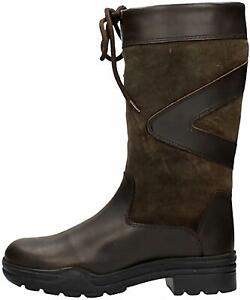 Mid Calf Country Boots Ladies Outdoor Walking Riding Rubber Sole Leather Shoes