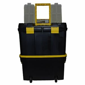 Plastic Double Tool Box Toolbox Storage Pull Along Handle Trolley 9 Compartment