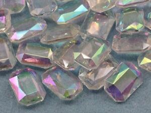 18x13mm Emerald Cut Decorating Gems AB Coating For Table Scatter 50/CNT