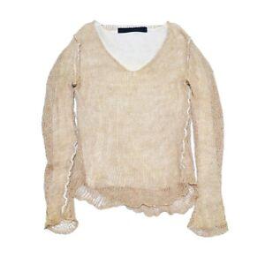 Isabel Benenato 100% Linen Beige Open Weave Crochet Knit Sweater Size M-L