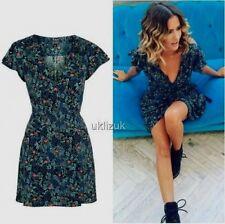 Topshop Celebrity Blogger Blue Black Floral Wrap Mini Dress - Size 12