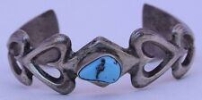 Sandcast Navajo Turquoise Heart Design Stacked Native American Unsigned Sterling