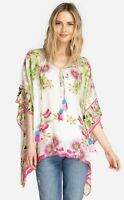 NEW Johnny Was Women's Galore Ivory Silk Floral Blouse Kimono Top O/S $215
