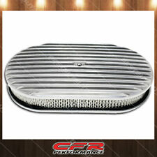"""Fits Chevy Ford Mopar 15"""" Oval Polished Aluminum Air Cleaner Full Finned"""