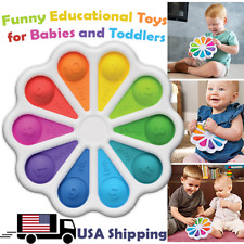 Rainbow Flower Bubble Fidget Fat Brain Dimple Push It Toy for Babies and Toddler