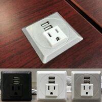 "Pwr-Plug Power Outlet USB Charger Port Fits 2""-2.5"" Grommet Hole Office Desk Top"