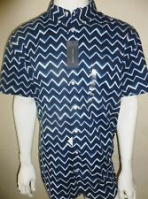 TOMMY HILFIGER MENS SHORT SLEEVED NAVY PATTERNED SHIRT NEW YORK FIT SIZE 2XL XXL