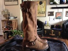 Steve Madden Brown Distressed Leather Knee-High Zipper Buckle Boots Size 9-CUTE!