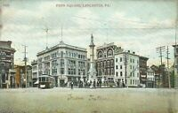 Lancaster Pennsylvania Postcard Penn Square Trolley Street View 1910