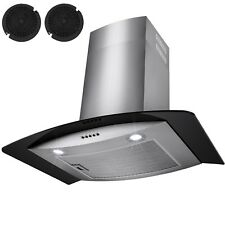 """30""""  Stainless Steel Wall Mount Range Hood Black Tempered Glass Kitchen Vent"""