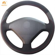DIY Mewant Black Genuine Leather Suede Steering Wheel Cover Wrap for Peugeot 307