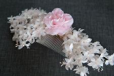 Vintage white & pink pearl flower bridal comb 70's / 80's boho hippy bridal comb